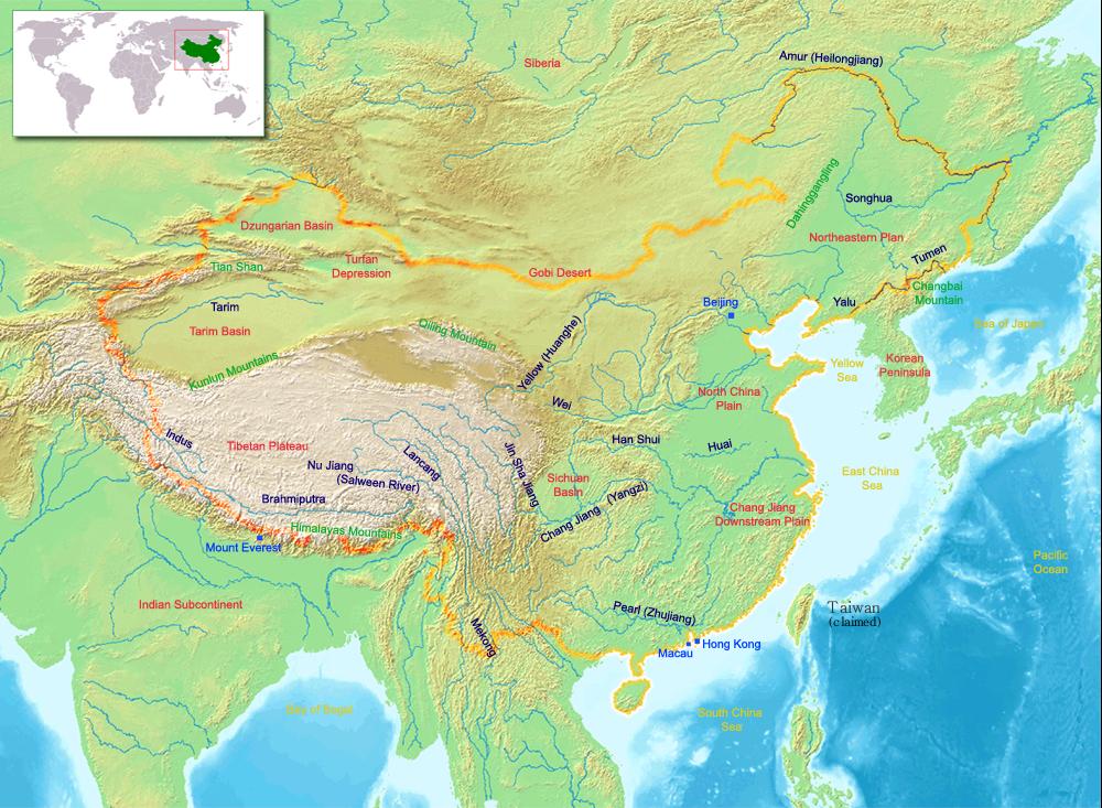 China y sus ríos: los dos más importantes en Huang He, y Chang Jiang (traduce río largo), y otros ríos importantes, pero menores, el Zhujiang -río Perla- en el sur, y Songhua en el norte. En el mapa, Yellow Sea es mar Amarillo y East China Sea es el mar de China Oriental.