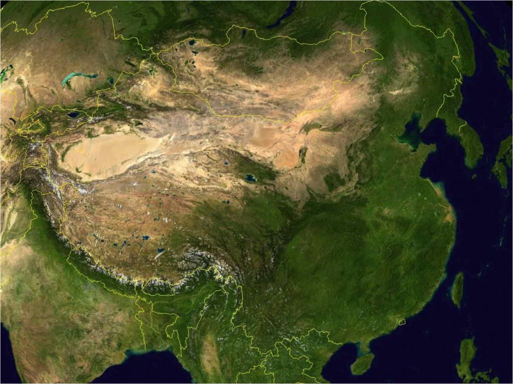 Foto (compuesta de varias fotos tomadas por satélites) de Asia que incluye a los territorios de China, Corea, Mongolia, partes de India y otros estados asiáticos.
