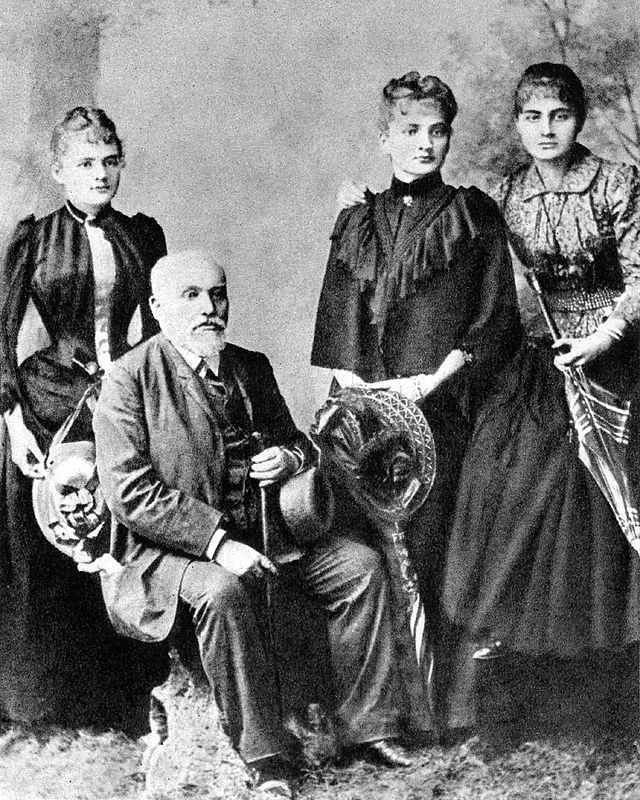 More details Władysław Skłodowski with daughters (from left) Maria, Bronisława, Helena, 1890