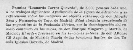 Notificación del Premio Leonardo Torres Quevedo, 1952