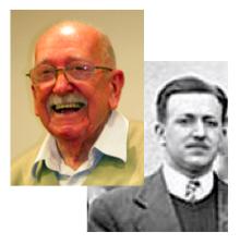 Alberto Maiztegui en dos tiempos. En 2010 en la celebración de sus 90 años y en 1946 durante la 8va Reunión de la Asociación Argentina de Física.