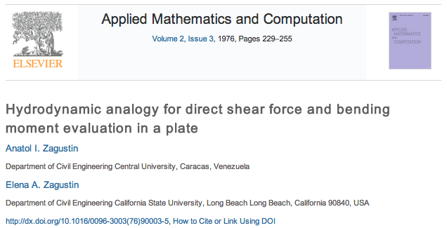 Zagustin Applied Mathematics and Computation Hydrodynamic analogy for direct shear force and bending moment evaluation in a plate