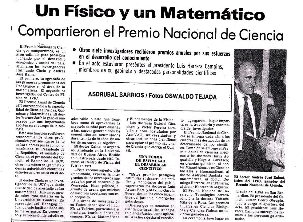 Kalnay Chela Premio Ciencia 1979