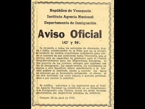 Aviso inmigracion venezuela 1953