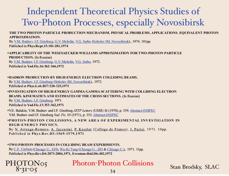 Photon Photon History Brodsky