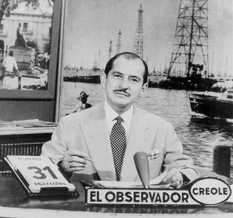El_Observador_Crole's_first_broadcast_on_November_16,_1953_with_anchor_Francisco_Amado_Pernía
