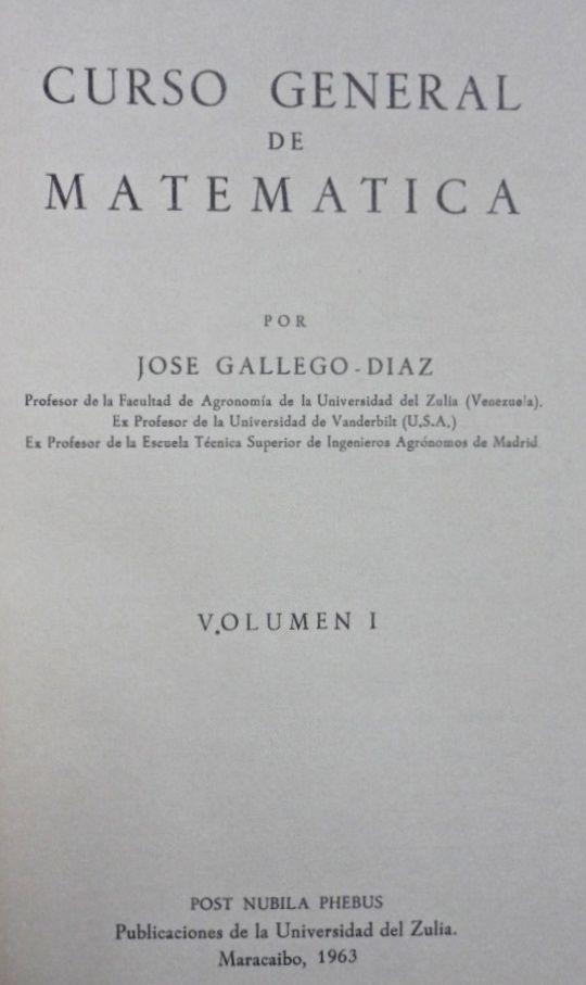 Libro matematicas Gallego Diaz LUZ