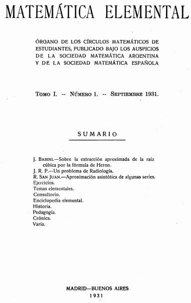Matematica Elemental portada 1931